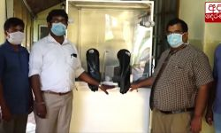A Portable Single Person Operating covid 19 sample collection Chamber Invented by Dr. Sajith Edirisinghe